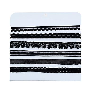 Mulheres Forma Floral Fitas Hip-Hop Gargantilhas Colares em Corrente colares em camadas Plástico Tela de pintura Pano Demin Gargantilhas