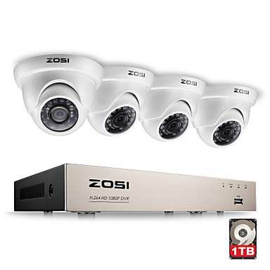 Sistema de segurança de vídeo completo hds de 5 canais 1080p com 4x 2.0mp 1080p câmaras dome à prova de intempéries 1tb de disco rígido