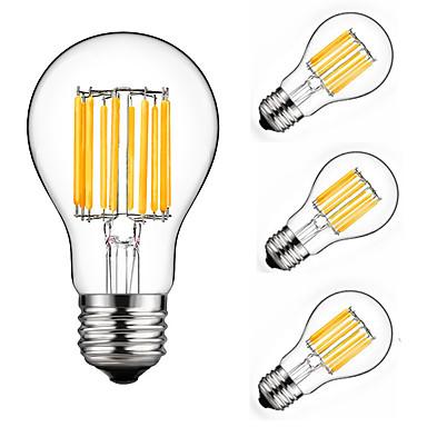 billige Elpærer-4stk 10 W 900 lm E26 / E27 LED-glødepærer A60(A19) 10 LED perler COB Dekorativ Varm hvit / Kjølig hvit 220-240 V / 4 stk. / RoHs