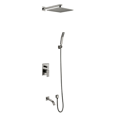 Shower Faucet - Contemporary Nickel Brushed Wall Mounted Ceramic Valve / Brass / Two Handles Five Holes