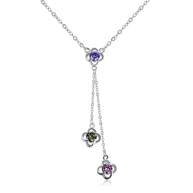 Women's Crystal / Cubic Zirconia / AAA Cubic Zirconia Logo Choker Necklace / Pendant Necklace - Crystal, Cubic Zirconia, Rhinestone Statement, Personalized, Floral Silver Necklace For Christmas