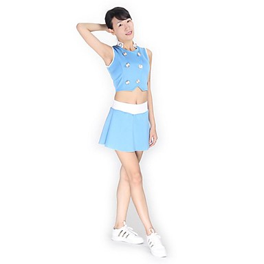 Cheerleader Costumes Outfits Women's Performance Knitwear Buttons 2 Pieces Sleeveless High Skirts Tops