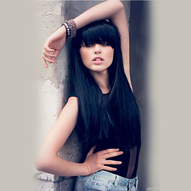 Romantic Beautiful  Black Long Hair Straight  Human Hair Wigs