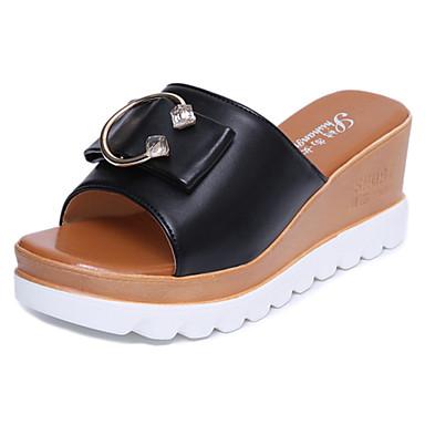 Mulheres Sapatos Couro Ecológico Verão Conforto Chinelos e flip-flops Caminhada Sem Salto Ponta Redonda Vazados para Casual Branco Preto