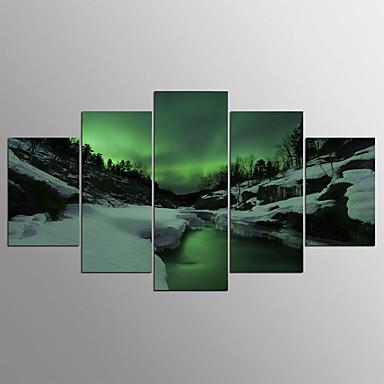 Estampados de Lonas Esticada Abstracto, 5 Painéis Tela de pintura Horizontal Estampado Decoração de Parede Decoração para casa