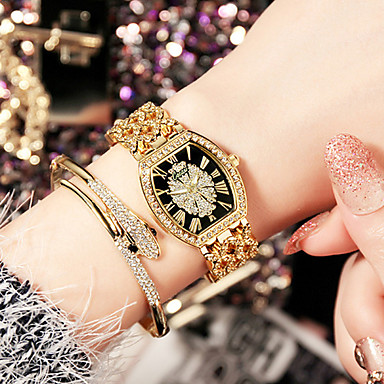 cheap Quartz Watches-Women's Luxury Watches Wrist Watch Gold Watch Stainless Steel Silver / Gold / Rose Gold Water Resistant / Waterproof Creative Imitation Diamond Analog Ladies Charm Luxury Sparkle Casual - Black