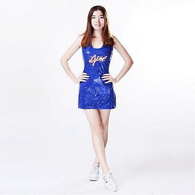 Cheerleader Costumes Outfits Women's Performance Polyester Paillette 2 Pieces Sleeveless High Dresses