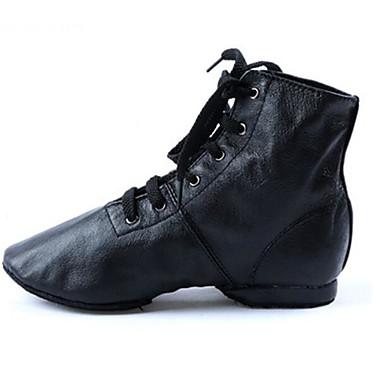 Mulheres Sapatos de Jazz Courino / Pele Sapatilha / Salto Sem Salto Personalizável Sapatos de Dança Preto / Ensaio / Prática