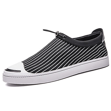 Men's Loafers & Slip-Ons Comfort Spring Fall PU Outdoor Black Gray Flat