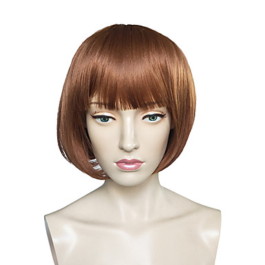 Cabelo Sintético perucas Kinky Liso Reto Corte Bob Sem Touca Peruca Natural Curto Marrom
