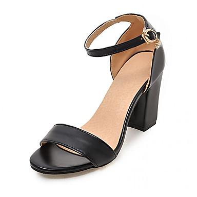 Mulheres Sapatos Sintético Couro Ecológico Verão Outono Conforto Inovador Sandálias Caminhada Salto Robusto Peep Toe Ponta Redonda