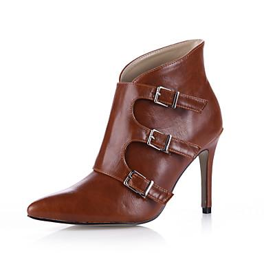 Mulheres Sapatos Couro Ecológico Primavera / Outono Curta / Ankle Saltos Dedo Apontado Botas Curtas / Ankle Presilha Preto / Marron /