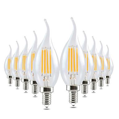 voordelige LED-kaarslampen-Ywxlight® 10 stks led edison lamp e14 4 w 300-400lm led kaars licht gloeidraad retro clear lamp koud warm wit voor kroonluchter ac 220-240 v