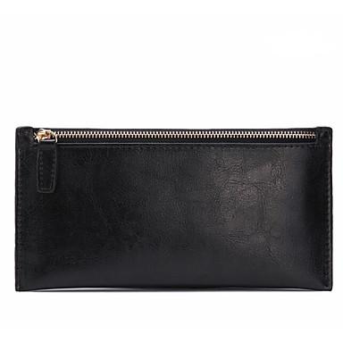 Women Checkbook Wallet Cowhide All Seasons Casual Rectangle Zipper Black Aquamarine Dark Fuchsia