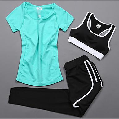 Naisten Verryttelypuku Lyhythihainen Pyöräily Fitness, Juoksu & Yoga Auttaa painonpudotuksessa Pehmustaa Nopea kuivuminen Arki- Urheilu