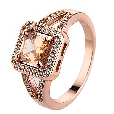 Women's Cubic Zirconia Ring Settings / Band Ring / Ring - Princess Personalized, Luxury, Unique Design 6 / 7 / 8 Champagne For Christmas / Christmas Gifts / Wedding / Party / Special Occasion
