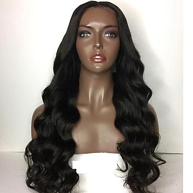 Ekte hår Lace Parykk Krop Bølge Blonde Forside Halvblonder uten lim 100 % håndknyttet Afroamerikansk parykk Naturlig hårlinje 150% tetthet