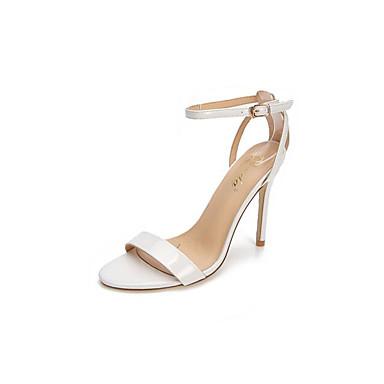 Naiset Kengät PU Kevät Comfort Sandaalit Käyttötarkoitus Kausaliteetti Valkoinen Hopea Paljas