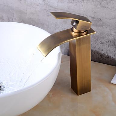 Conjunto Central Cascata Válvula Cerâmica Uma Abertura Cobre Envelhecido, Torneira pia do banheiro