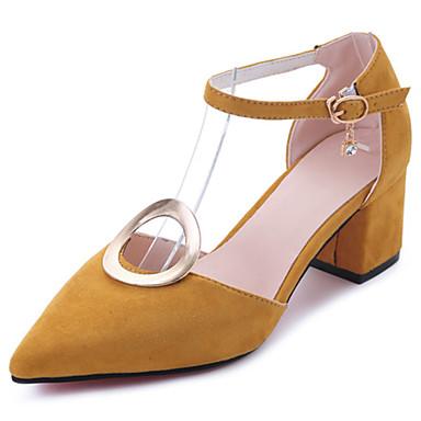 Mulheres Sapatos Couro Ecológico Verão Solados com Luzes Conforto Sandálias Salto de bloco Dedo Apontado Presilha para Social Preto