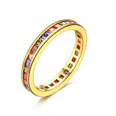 Dame Ring Kubisk Zirkonium Gull Sølv Zirkonium Kobber Sølvplett Gullbelagt 18K Gull Geometrisk Form Uregelmessig Personalisert Luksus