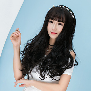 Cabelo Sintético perucas Onda de Corpo Com Franjas Peruca de Halloween Peruca Lolita Peruca Natural Longo Marrom Escuro Castanho Amendoa