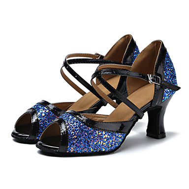 Mulheres Sapatos de Dança Latina Glitter / Courino Sandália / Salto Presilha Salto Personalizado Personalizável Sapatos de Dança Branco /