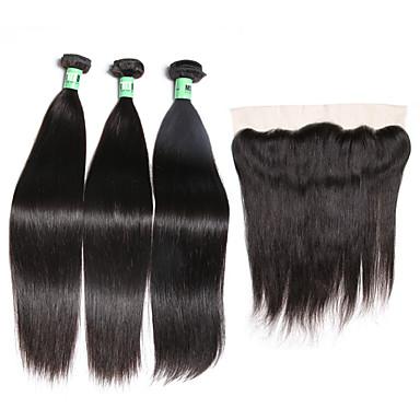 3 pacotes com fechamento Cabelo Malaio Liso Cabelo Virgem Trama do cabelo com Encerramento 8-26 polegada Tramas de cabelo humano 4X13 Encerramento / Frente de Malha Macio / 4a Extensões de cabelo