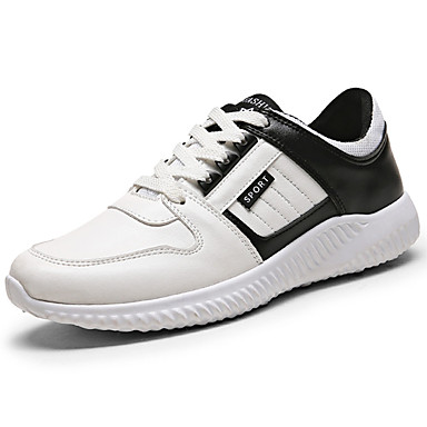 Men's Shoes PU Spring Fall Ankle Strap Comfort Sneakers Lace-up for Casual Outdoor Black / White Red / White White / Blue