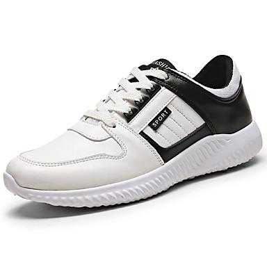 Homens sapatos Couro Ecológico Primavera Outono Tira no Tornozelo Conforto Tênis Cadarço para Casual Ao ar livre Branco/Preto