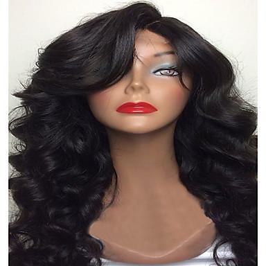 Ekte hår Helblonde Parykk Krop Bølge 130% tetthet 100 % håndknyttet Afroamerikansk parykk Naturlig hårlinje Kort Medium Lang Dame