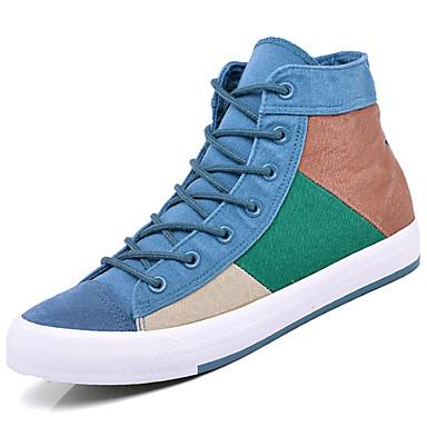 Homens sapatos Couro Ecológico Primavera Verão Conforto Tênis para Casual Azul Azul marinho Castanho Escuro