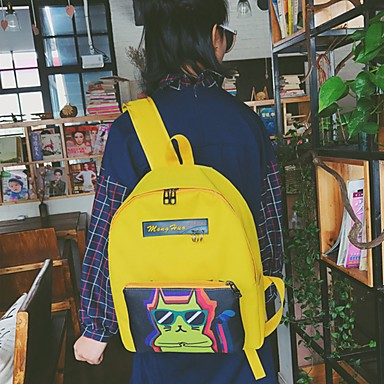 Unisex Backpack Oxford Cloth All Seasons Casual Round Zipper Blue Black Blushing Pink Gray Yellow