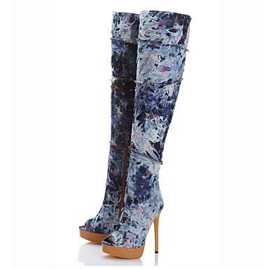 Mulheres Sapatos Jeans Primavera Outono Gladiador Botas Salto Agulha Peep Toe Botas Cano Alto Ziper para Casual Social Festas & Noite Azul