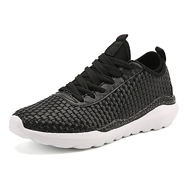 Men's Sneakers Comfort Spring Fall Tulle Casual Lace-up Flat Heel White Black Black/White Flat
