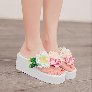 Naiset Sandaalit Comfort PU Kevät Kausaliteetti Comfort Valkoinen Sininen Pinkki 2-2,75in