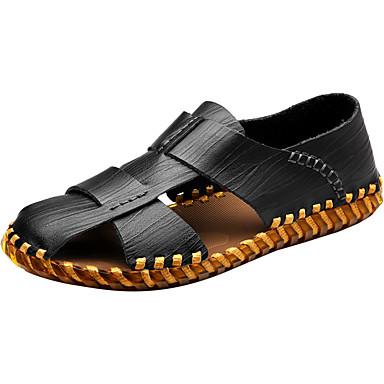 Homens sapatos Couro Ecológico Primavera Outono Solados com Luzes Conforto Sandálias Franzido para Casual Preto Castanho Claro Castanho