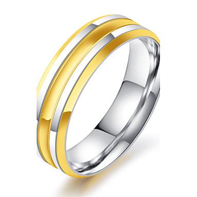 Homens 18k Ouro Anel - Redonda Vintage Elegant Dourado Anel Para Casamento Aniversário Festa Noivado Cerimônia