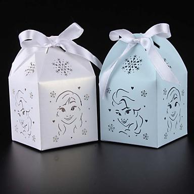 Kocka alakú / köb Kártyapapír Favor Holder val vel Szalagok Ajándék dobozok / Ajándékdobozok