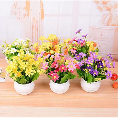 7 Branch/Pot Plastic Daisies mini Tabletop Flower Artificial Flowers