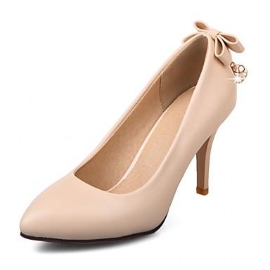 Mulheres Sapatos Sintético / Couro Ecológico Verão / Outono Conforto / Inovador Saltos Caminhada Salto Agulha Dedo Apontado Laço Preto /