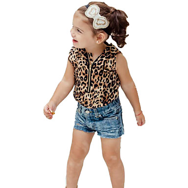 Girls' Animal Print Fashion Clothing Set, Cotton Polyester Summer Sleeveless Animal Print Yellow
