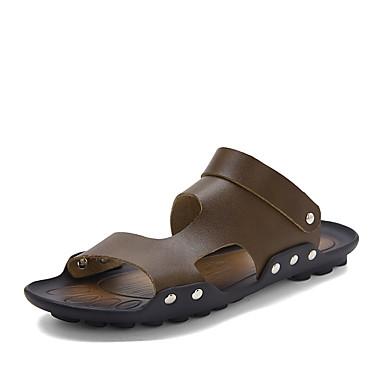 Miesten kengät Synteettinen mikrokuitu PU Kesä Comfort Sandaalit varten ulko- Musta Ruskea Punainen