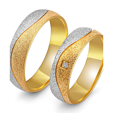Couple's AAA Cubic Zirconia Couple Rings - Cubic Zirconia, Titanium Steel Vintage, Elegant 5 / 6 / 7 / 8 / 9 Gold For Wedding Anniversary Party Evening / Engagement / Daily
