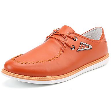 Herre sko PU Vår Høst Komfort Oxfords til utendørs Svart Oransje Rød