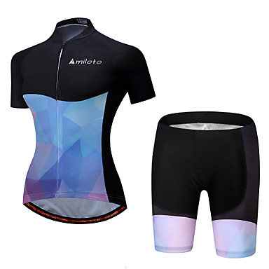 Miloto Women's Short Sleeve Cycling Jersey with Shorts - Bule / Black Bike Padded Shorts / Chamois / Clothing Suit Polyester, Spandex Gradient / Stretchy
