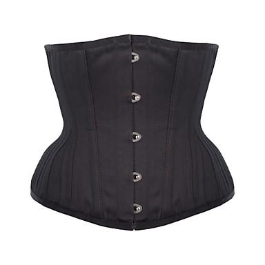 Women's Underbust Corset Plus Size NightwearRetro Sexy Push-Up Sports Solid-Medium M-3XL Black