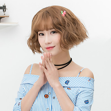 Synthetic Wig Wavy Bob Haircut With Bangs Gray Brown Women S Capless