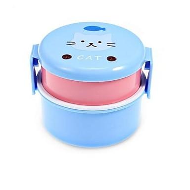 540ml MINI Box Cute Cartoon Animals Double Layer Round Lunch Box