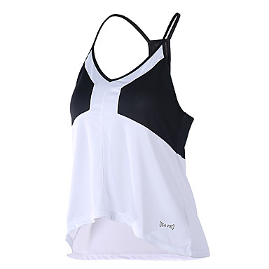Women's Workout Tank Fitness, Running & Yoga Breathable for Running/Jogging Yoga Exercise & Fitness Loose Black/White